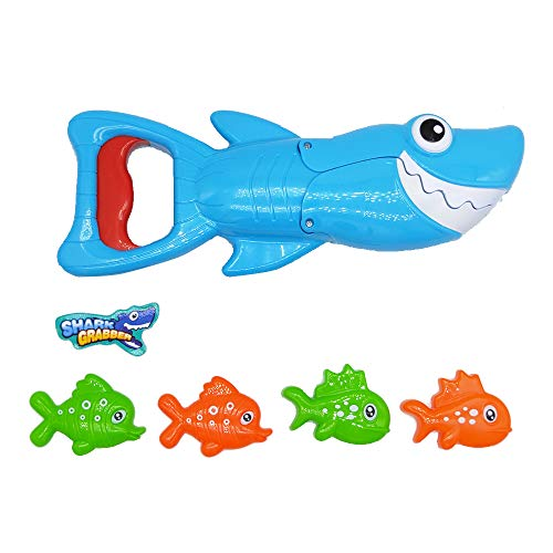 QICI Shark Grabber Bath Toy for Kids Toddlers Cute Blue Shark with Teeth Biting Action,4 Toy Fish Included ()