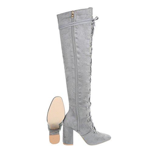 Damen Boots Bequeme Partystiefel Langschaft Trendy Overknee Hellgrau Stiefel Heels Schnürstiefel Gogostiefel Schuhe Stiefel High FxrPaWFnv
