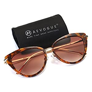 AEVOGUE Sunglasses For Women Cat Eye Frame Metal Temple Brand Designer AE0269 (Hawksbill&Brown, 57)