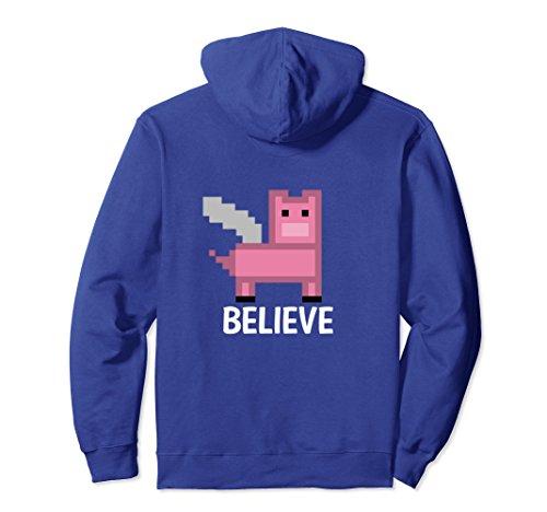 Unisex Pixelated Pig Flying Pig with Wings Believe Hoodie 2XL Royal (Believe Flying Pig)