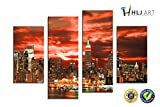 HLJ ART 4 Panel City Scape NY Canvas Print Wall Art Painting for Living Room Decor and Modern Home Decorations Photo Prints (Wood Framed)