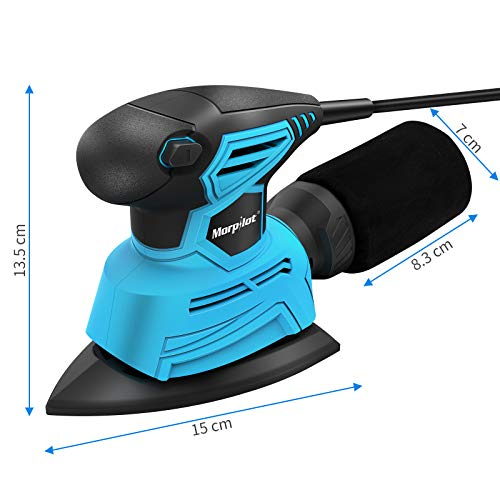 morpilot Detail Palm Corner Mouse Hand Sander Sanding Tool 130w, 14000 RPM Sander with dust Collector, 18 Pieces of Sandpaper, Suction for Sanding Wood