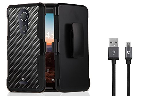 T-Mobile REVVL Plus - Accessory Bundle: Dual Layer Shockproof Kickstand Belt Holster Case - (Carbon Fiber), Sync Charge Micro USB Cable [3.3 Feet] and Atom (Belt Cp Carbon Fiber)