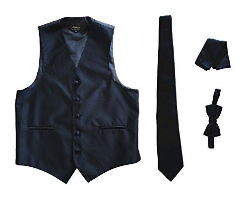 Amanti Men's Tuxedo Vest 4 Piece Set Solid (XXXL, Black)