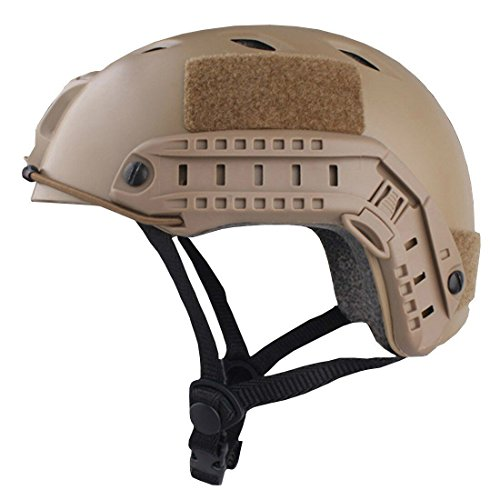 H World Shopping Tactical Fast BJ Type Bump Base Jump Airsoft Helmet with Side Rail Bicycle DE by H World Shopping