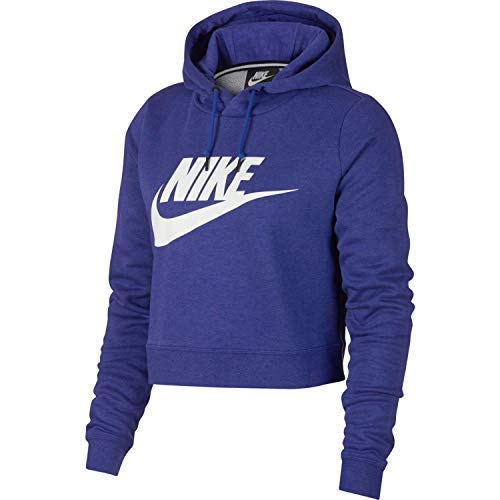 NIKE Womens Rally Hoodie Crop Top Sweatshirt Light Concord/White AQ9965-429-Size Large