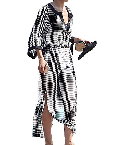 Bestyou Women's Turkish Chiffon Kaftans Caftan Printed Bathing Suit Cover up Tunic Dress (Floral Printed 1)