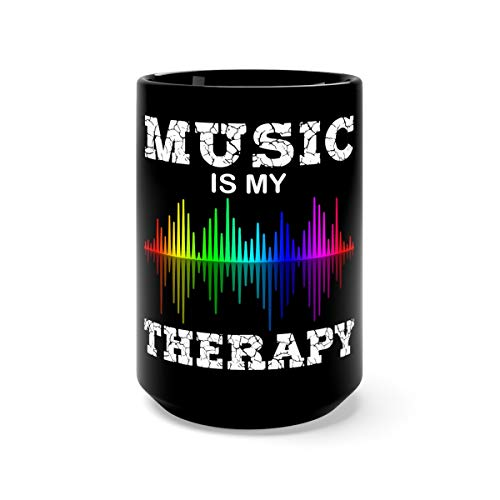 Music Is My Therapy Equalizer DJ Ts Musical Quotes Favorite Drink Mug Ceramic 15oz Black
