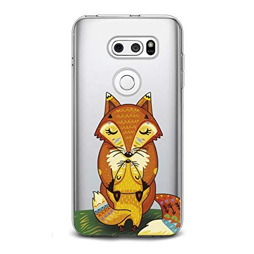 Lex Altern TPU Case for LG G8 Stylo 4 K11 G7 ThinQ G6 V40 V35 V50 K8 Cute Fox Orange Baby Clear Mommy Silicone Cover Print Protective Lightweight Flexible Girls Women Soft Kids Smooth Hugging Kiss -