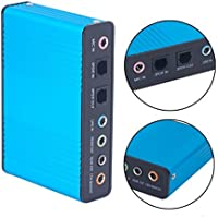 ProElite 6 Channel External Sound Card 5.1 Surround Sound USB 2.0 External Optical S/PDIF Audio Sound Card Adapter for PC Laptop [Blue Color]
