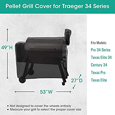SunPatio Outdoor Heavy Duty Waterproof for Traeger Wood Pellet Grill Cover 20 Series, 22 Series, 34 Series, Full Length Barbecue Grill Cover, All Weather Protection, Black
