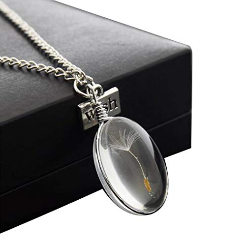Isopeen Fashion Dandelion Seed Necklace Crystal Ball Pendant Long Chain Lover Gifts Pendant Necklaces For Girls - Long Necklace Pendant Chain