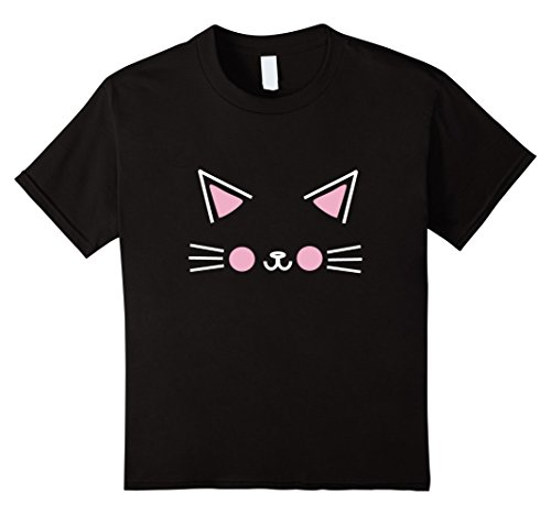 Cute Halloween Cat Faces (Kids Cute Cat Face Halloween Costume Black Tshirt Gift Womens Kid 6 Black)