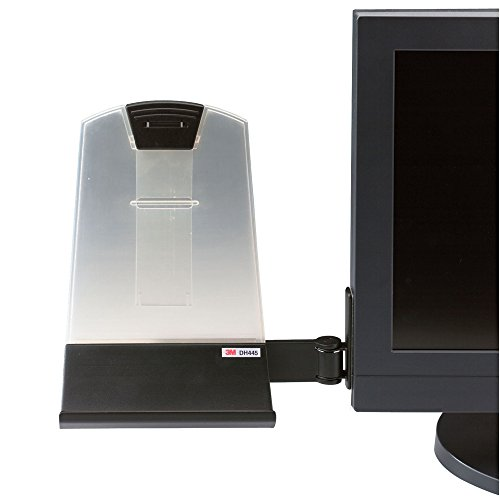 Monitor Document Holder (3M Monitor Mount Document Copy Holder, Holds Documents at Eye Level Off the Desk, Adjustable Clip Holds Paper in Portrait or Landscape, Mounts with Command Adhesive, 35 Sheet Capacity, Black (DH445))