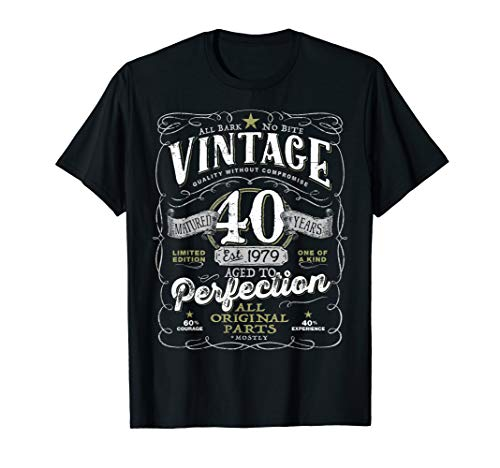 Vintage 40th Birthday Shirt, 1979, Aged To Perfection]()