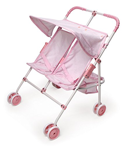 Badger Basket Folding Double Doll Umbrella Stroller - Pink Gingham (fits American Girl Dolls)