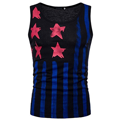 Limsea Men Blouse, American Flag Printed O Neck Sleeveless T-Shirt Top Vest Blouse