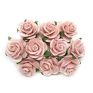 2cm Blush Pink Paper Flowers Paper Rose Artificial Flowers Fake Flowers Artificial Roses Paper Craft Flowers Paper Rose Flower Mulberry Paper Flowers, 25 Pieces 9