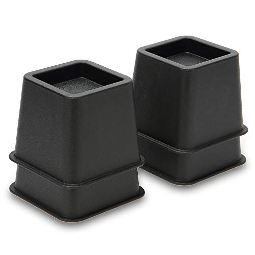 Shop Logic 4 Pack of 3 inch Bed Furniture Risers Lifts, Black Heavy Duty Stackable Plastic Squares with 16 Foam Pads for Extra Storage Space and Coping with Acid Reflux ()