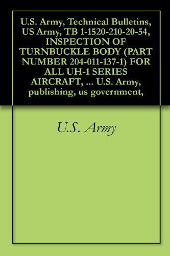 - U.S. Army, Technical Bulletins, US Army, TB 1-1520-210-20-54, INSPECTION OF TURNBUCKLE BODY (PART NUMBER 204-011-137-1) FOR ALL UH-1 SERIES AIRCRAFT, military ... U.S. Army, publishing, us government,