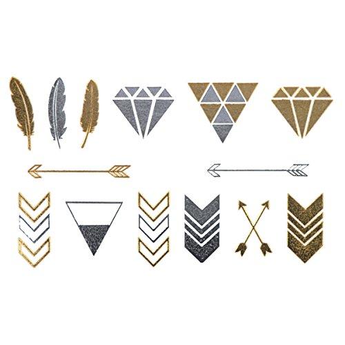 COKOHAPPY 5 hoja Minúsculo Flecha Diamante Pluma Feather Dorado ...