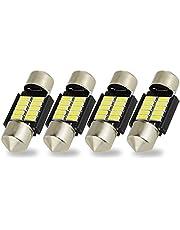 Safego 4x C5W bombilla Canbus Blanca 31mm LED Festoon 10-4014 SMD 3175 6428 DE3021 DE3022 para luces del coche 6000K