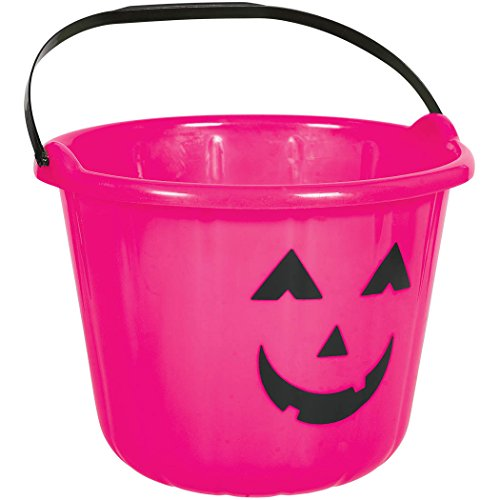 Hot Pink Plastic Pumpkin Bucket]()