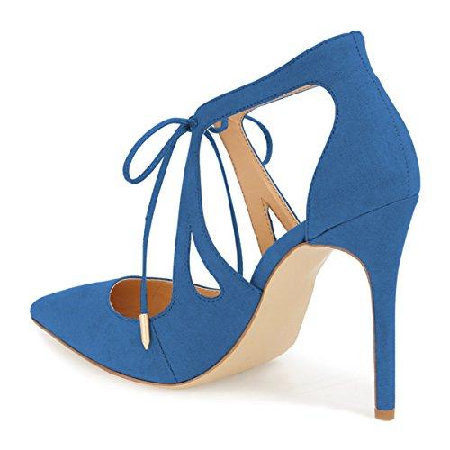 Zapatos De Tacón De Aguja De Las Mujeres De Fsj Bombas De Punta Estrecha Con Cordones Sandalias De Corte Bowknot Tamaño 4-15 Us Royal Blue