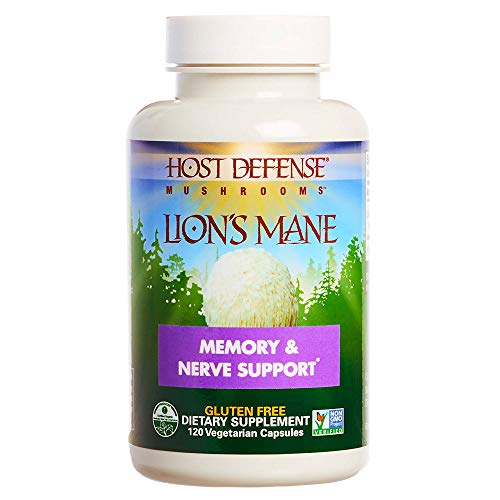 Host Defense - Lion's Mane Mushroom Capsules, Natural Support for Mental Clarity, Focus, Memory, Cerebral and Nervous System Health, Non-GMO, Vegan, Organic, 120 Count