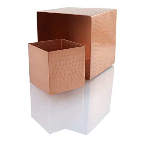 Koyal Wholesale 4-Pack Hammered Copper Square Vases, 4 x 4-Inch Centerpiece Copper Cube Vases ()