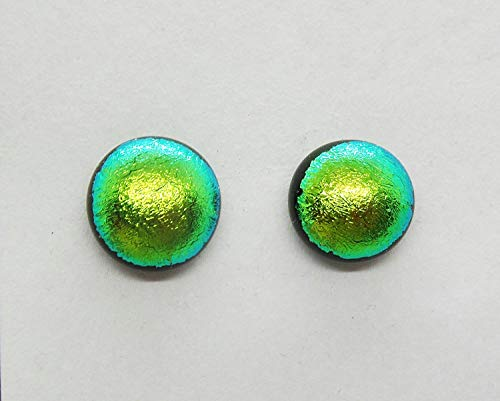 Green Satin Dichroic Handcrafted Fused Glass Post/Stud 10mm Round Earrings A84