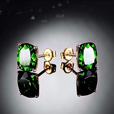 Pendientes joyería cuadrado en forma de verde cristal piedras preciosas Stud Pendientes para la fiesta de bodas femenina regalos ornamentos