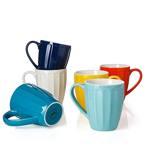 Sweese 6209 Porcelain Mugs - 14 Ounce for Coffee, Tea, Cocoa, Set of 6, Fluted mugs, Hot Assorted Colors