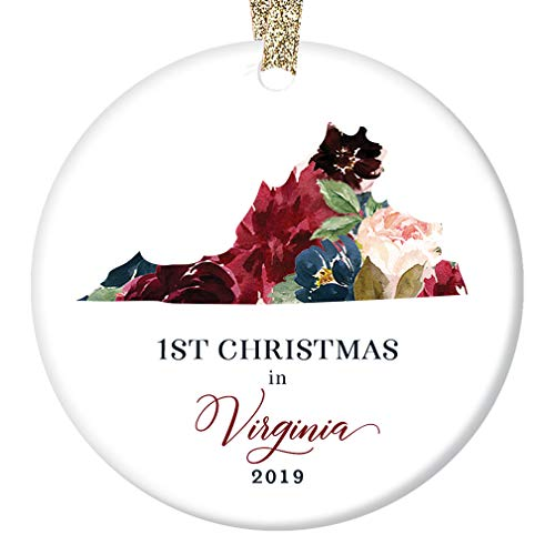 (Christmas Season 2019 Ceramic Ornament 1st First Holiday Living in VIRGINIA Keepsake Present for Relatives Friends Beautiful Floral 3