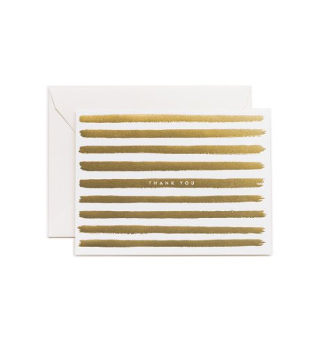 Golden Stripes Thank You Note Cards by Rifle Paper Co. -- Set of 8 Cards and Envelopes
