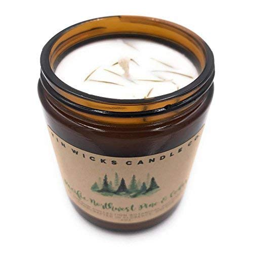 Pacific Northwest Pine + Cedar - The Oregon Collection || 9oz. Botanical Soy Wax Amber Glass Jar Candle || Tin Wicks Candle Co. || Handcrafted Soy Candle || Holiday Scented Soy Candle ()