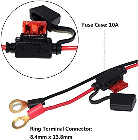 6FT SAE to O Ring Terminal Harness Quick Connect//Disconnect Ring Terminal Assembly SPARKING 6FT Ring Terminal Cable 10A Fuse