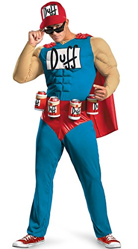 Bender Costume (Disguise Unisex Adult Classic Muscle Duffman, Multi, XX-Large (50-52) Costume)