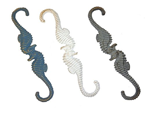 WeeZ Industries Set of 3 Nautical Themed Cast Iron Plant Hooks (Seahorse)