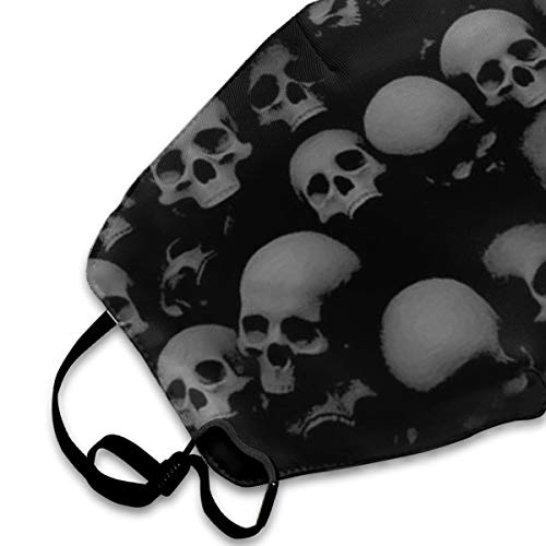 Garde Art Studio Mouth Mask Safety & Healthy Fashion Face Cover Masks, Grey and Black Skulls Head Polyester Comfortable Dust-Proof Mask