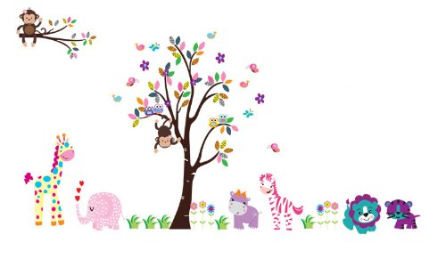 Cartoon Removable Stickers Childrens lion tree