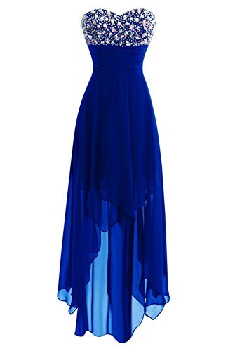 Women High Low Sweetheart Bridesmaid Dresses Chiffon Evening Party Prom Gown Royal Blue US26W -