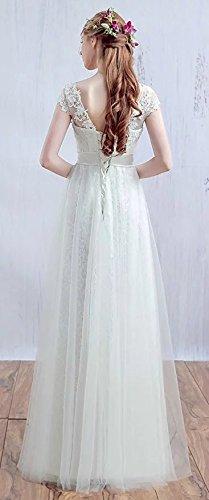Langes Abendkleid Aermel Gap Prinzessin Spitzen Brautjungfer Damen Weiß Tuell Ballkleid Party Vickyben Kleid