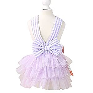 MaruPet Summer Sweet Puppy Doggie Striped Printed Princess Skirt Pet Dog Lace Cake Camisole Tutu Dress with Bowknit Purple M