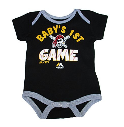 (Majestic Pittsburgh Pirates Baby's 1ST Game Logo Infant Size 0-3 Months Bodysuit Creeper Black)