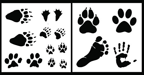 Auto Vynamics - STENCIL-FOOTPRINTSET01-20 - Detailed Animal & Human Footprint Stencil Set - Features Tracks From Dogs, Ducks, Bears, & More! - 20-by-20-inch Sheets - (2) Piece Kit - Pair of Sheets (Animal Safari Stencils)