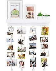 Vencipo Cornice Portafoto Collage per Appendere Foto Wall Decor, Cornici Foto in Legno Multipla con Foto Clips.