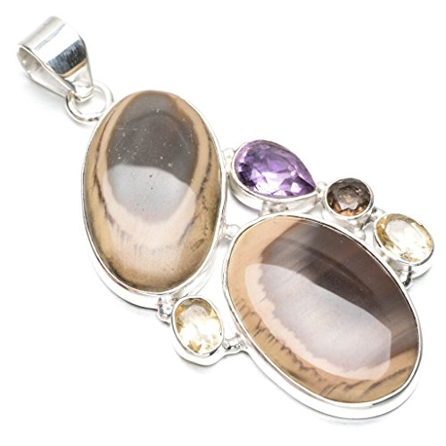 Natural Imperial Jasper,Amethyst,Citrine and Smoky Quartz 925 Sterling Silver Pendant 2 1/2