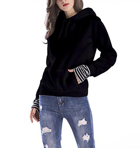 Strisce Hoodies Style Sweatshirt Warm Con Sportiva Puro Inverno Nero Lunga Manica Moda Pullover Hoodys Donna Invernale Ragazze Cucitura Felpa Casual Caldo Colore Felpe Elegante Larga Cappuccio Festa A 1wnO8q