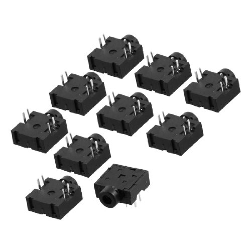 uxcell 10 Pcs DIP PCB Mount 5 Pins Female 2.5mm Stereo Audio Jack Socket